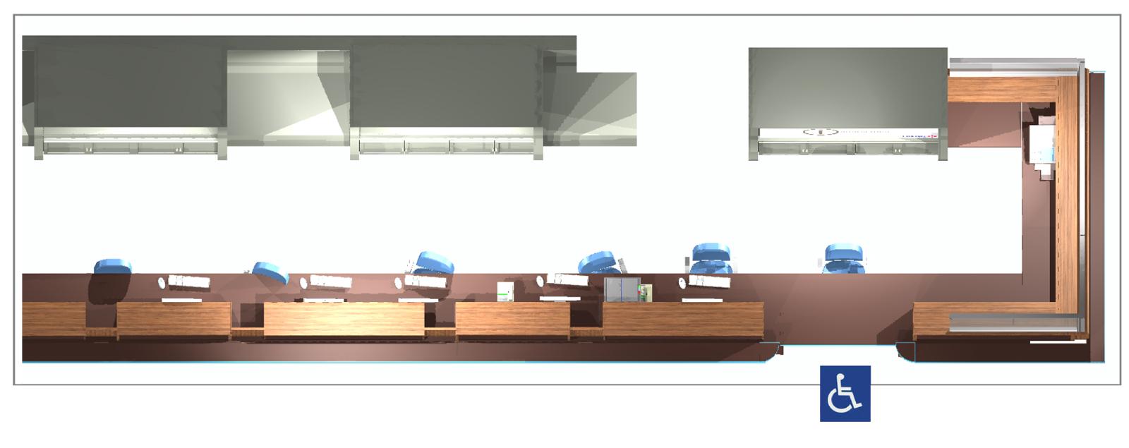 Aéroport Grenoble-Isère - Banque d'accueil / enregistrement - Plan
