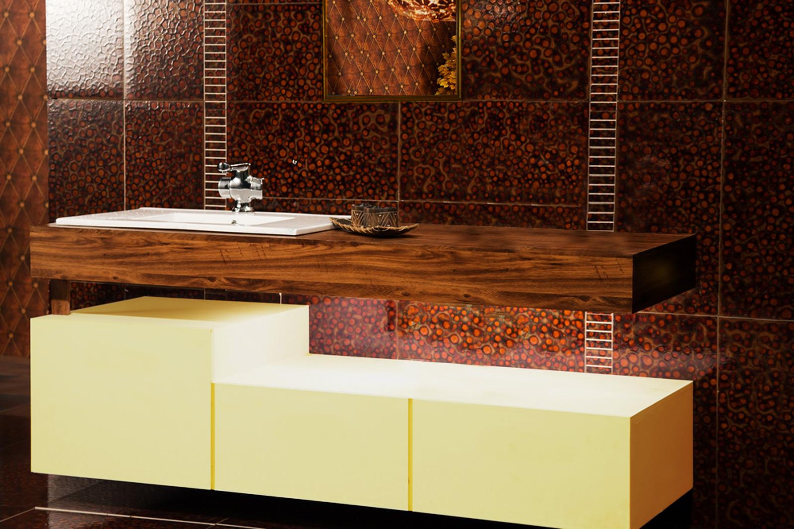 Salle de bain orange et bois for Bois pour salle de bain